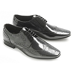 Ikon - Black high shine 'Statham' fashion lace shoes