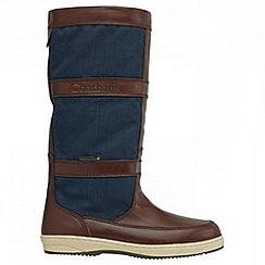 Chatham - Navy/brown 'catamaran' waterproof boots