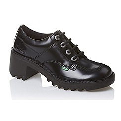 Kickers - Black 'Kopey Lo' black leather lace up school shoes