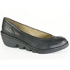 Fly London - Womens black Pace brogue court wedge