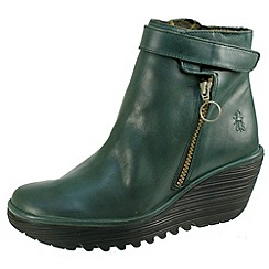 Fly London - Dark green Yava petrol zip boots with touch strap