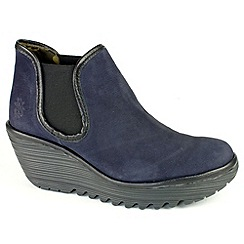Fly London - Womens navy/black Yat chelsea ankle boots