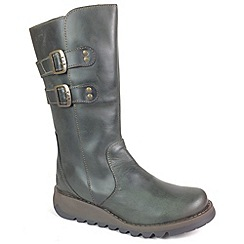 Fly London - Dark green Diesel 'Suli' mid leather boots