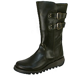 Fly London - Dark green Suli biker boots in Olive leather