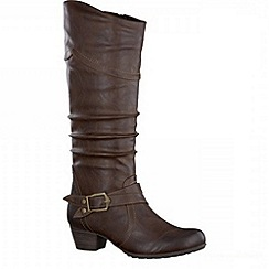 Tamaris - Cafe ruched high leg boot with ankle strap
