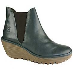 Fly London - Yoss chelsea boot on mid wedge in diesel