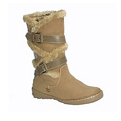 Pixie - Mink Amy faux fur and buckle mid boots