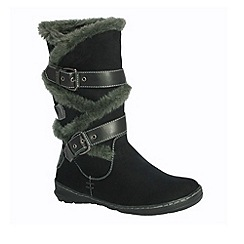 Pixie - Black Amy faux fur and buckle mid  boots