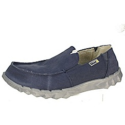 Hey Dude - Blue farty 'chalet' blue canvas slip on with faux fur lining