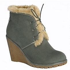 Pixie - Emily grey faux fur lined laced ankle boot