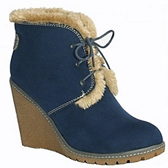 Pixie - Emily navy faux fur lined laced boots