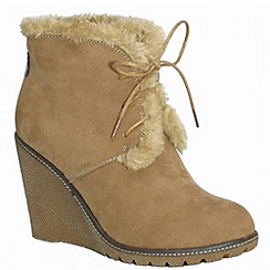 Pixie - Emily mink faux fur lined laced boot