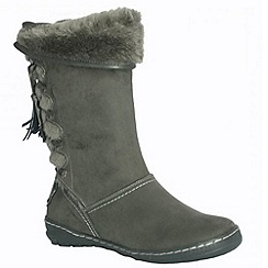 Pixie - Heidi grey mid boots with faux fur linings and back lace