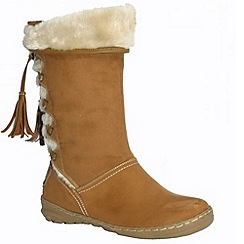 Pixie - Heidi camel faux fur lined mid boots