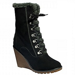 Pixie - Black Tammy ankle boots with speed lacing