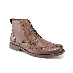 Front - Brown 'Baker' lace ankle boots