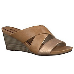 Tamaris - Tan antelope/ rose '27234' wedge sandals