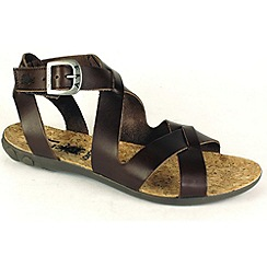 Fly London - Brown 'Fino' cross over vamp leather sandal