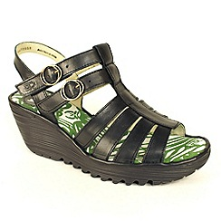 Fly London - Black 'Ygor' wedge sandals