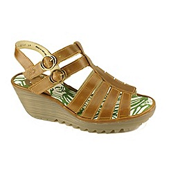 Fly London - Camel 'Ygor' wedge sandals