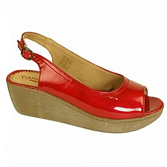 Heavenly Feet - Red Patent 'Capri' wedge sandals
