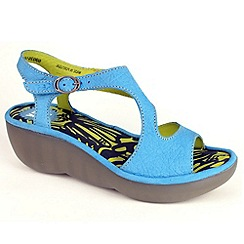 Fly London - Aqua bianca buckle sandal on high wedge in azure leather