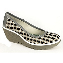 Fly London - Light grey 'yizk' multi coloured interwoven wedge court
