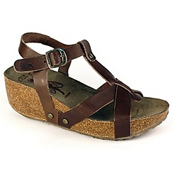 Fly London - Brown marrone 'Cola' wedge sandals