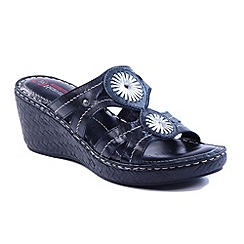 Heavenly Feet - Black 'Shimmer' wedge sandals