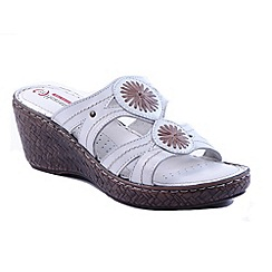 Heavenly Feet - White 'Shimmer' wedge sandals