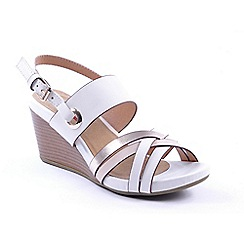 Heavenly Feet - White 'Tania' wedge sandals
