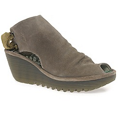 Fly London - Taupe 'Yame' womens taupe peep to wedge sandals