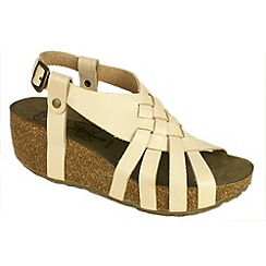 Fly London - Natural 'Cary' natural leather wedge sandal with back buckle
