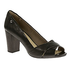 Hush Puppies - Black 'Shadell Sisany' peep toe court shoe