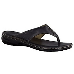 Tamaris - Black '27210' toe post Leather sandal