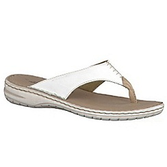Tamaris - White '27210' toe post Leather sandals
