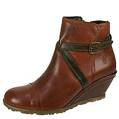Fly London - Brown 'Lau brick ankle boot' with brown straps