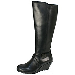 Fly London - Black Luba black leather inside zip wedge boots