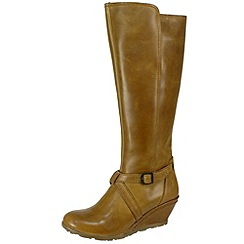 Fly London - Camel Luba camel zip and wedge boots