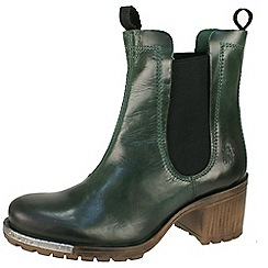 Fly London - Dark green 'Luz block heeled' petrol chlesea boot