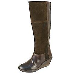 Fly London - Dark brown 'Seda' inside zip boot on a low wedge