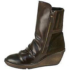 Fly London - Dark brown 'Simi' ruched vamp, inside zip boots
