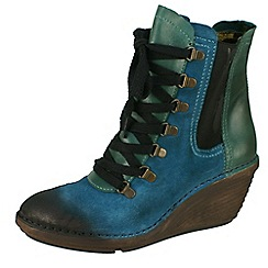Fly London - Dark green 'Suzu' petrol lace up boots on low wedge