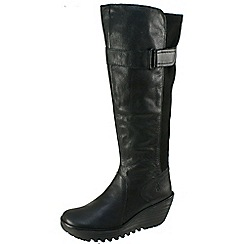 Fly London - Black 'Yash' high leg boot with inside zip