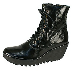 Fly London - Black 'Ygot' patent lace up boots