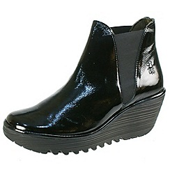 Fly London - Black patent Yoss Chelsea boot in black patent