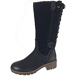 Tamaris - Black 26534 black suede and leather boot warmlined