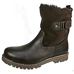 Tamaris - Dark brown Leather and Sheepskin wool lined pull on boots