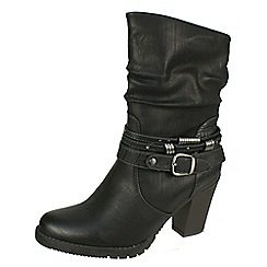 Tamaris - Black ankle boot with brass buckle and rings