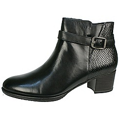 Tamaris - Black buckle strap ankle boot with snake effect